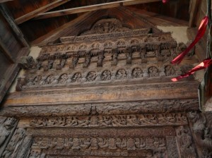 carvings at entrace of Lakhna devi temple