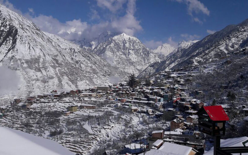 beautiful view of bharmour covered in snow 2017