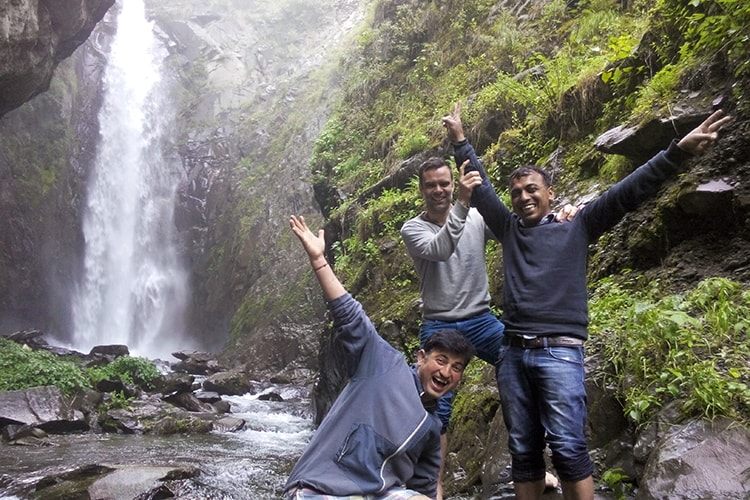 cheering at thala waterfall bharmour